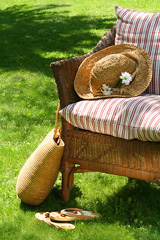 outdoor wicker furniture - chair with cushions